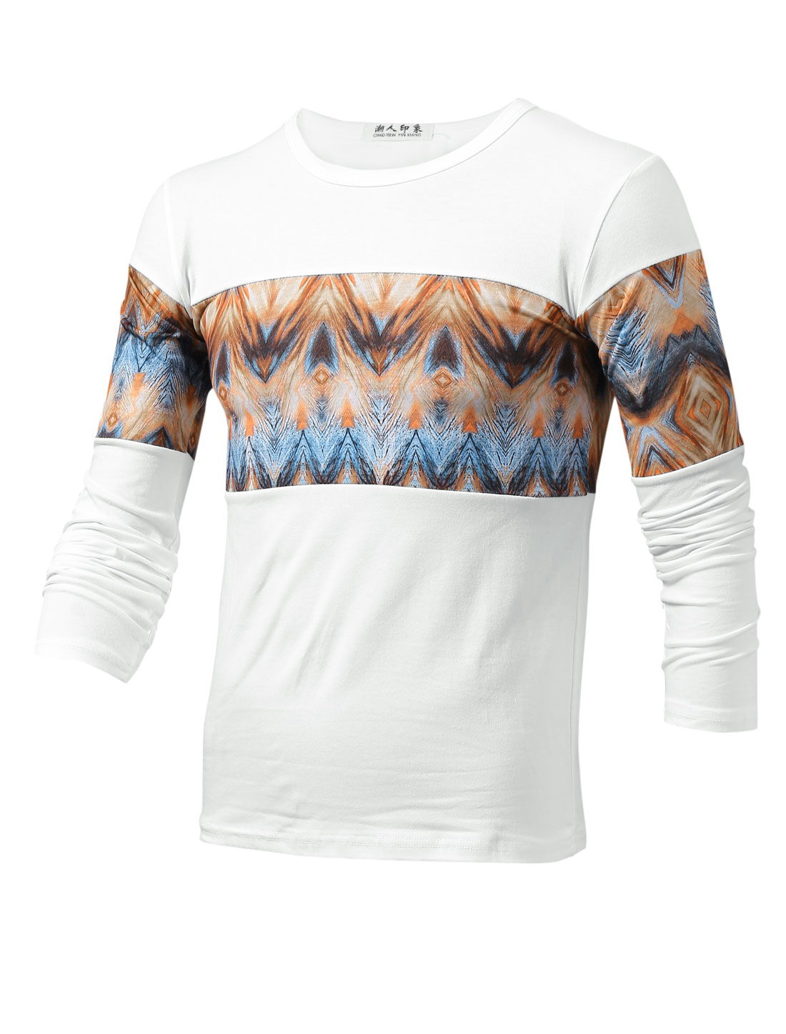 Men Argyle Pattern Round Neck Leisure Design T-Shirts Ochre White S