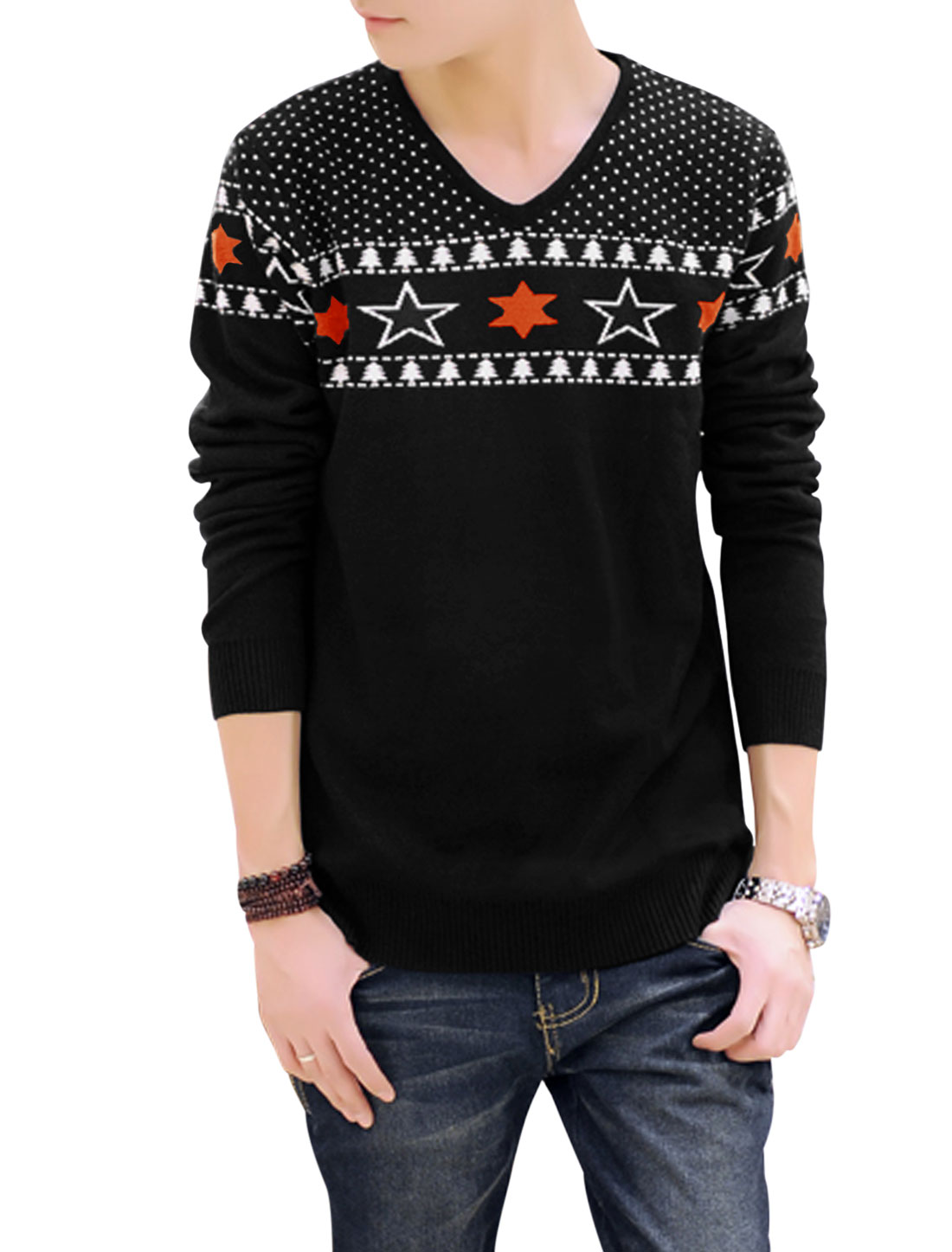 Men V Neck Stars Pattern Tree Dots Pattern Casual Sweater Black M