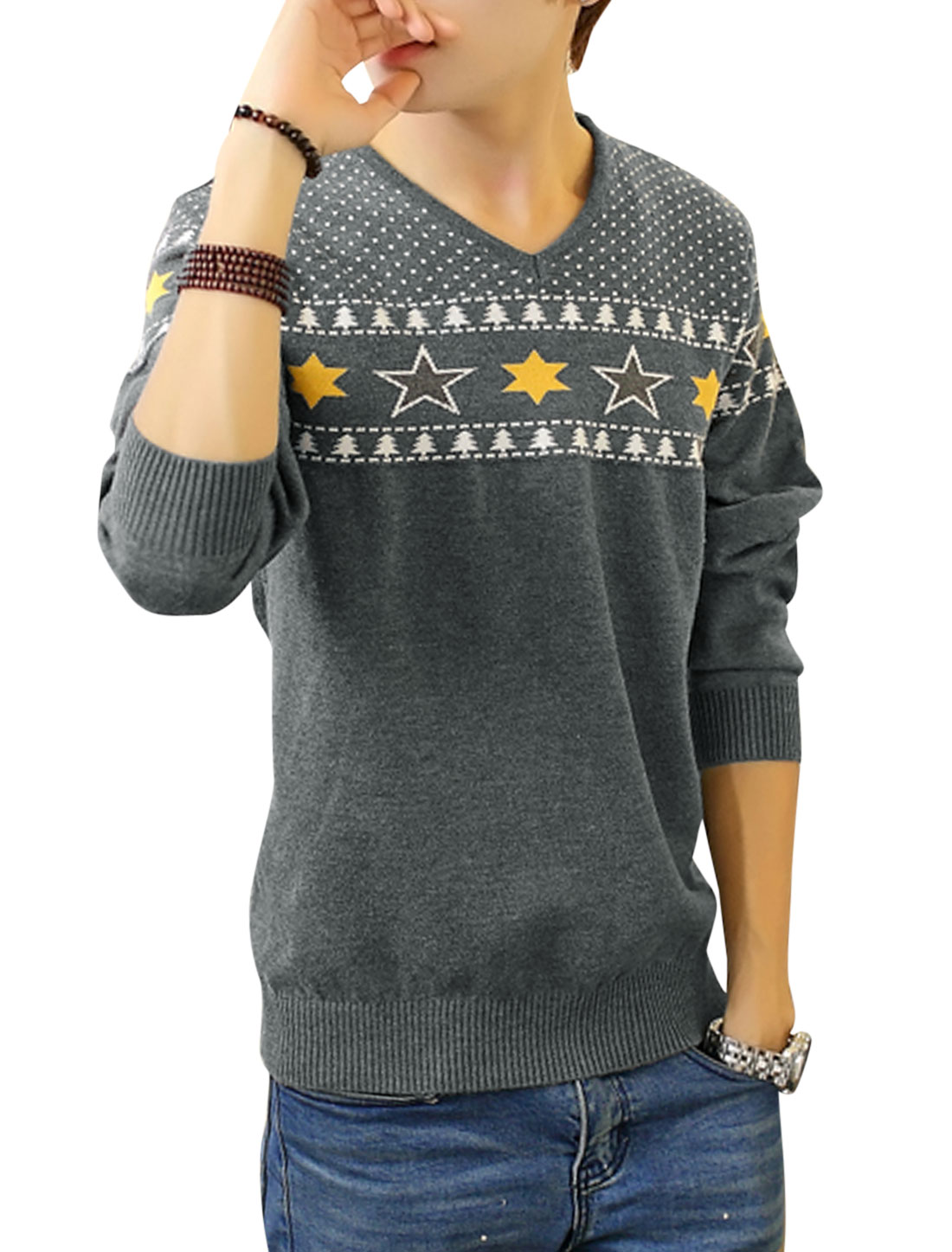 Men Ribbed Cuffs Stars Pattern Tree Dots Pattern Casual Sweater Light Gray M