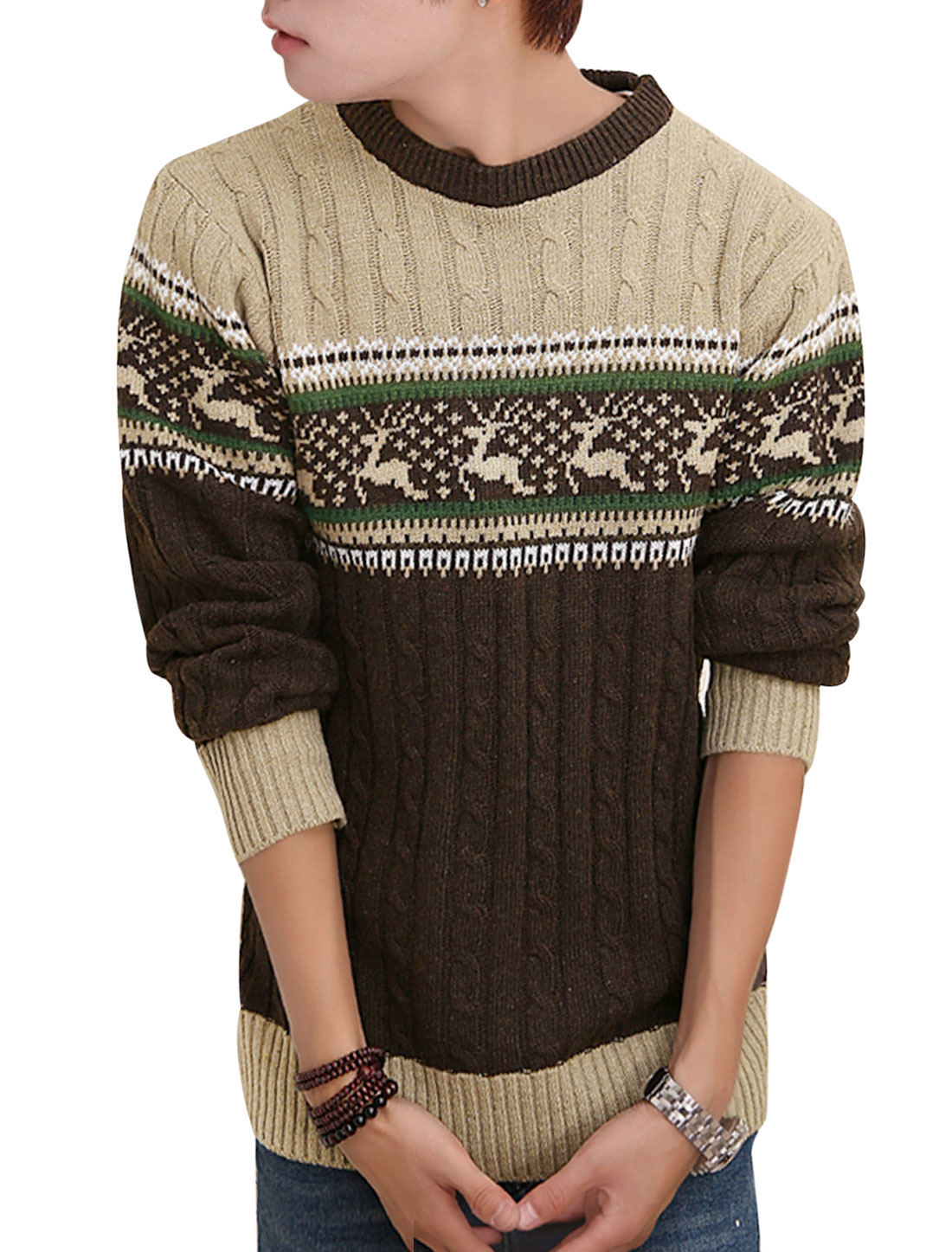 Crew Neck Deer Novelty Print Leisure Sweater for Men Brown S