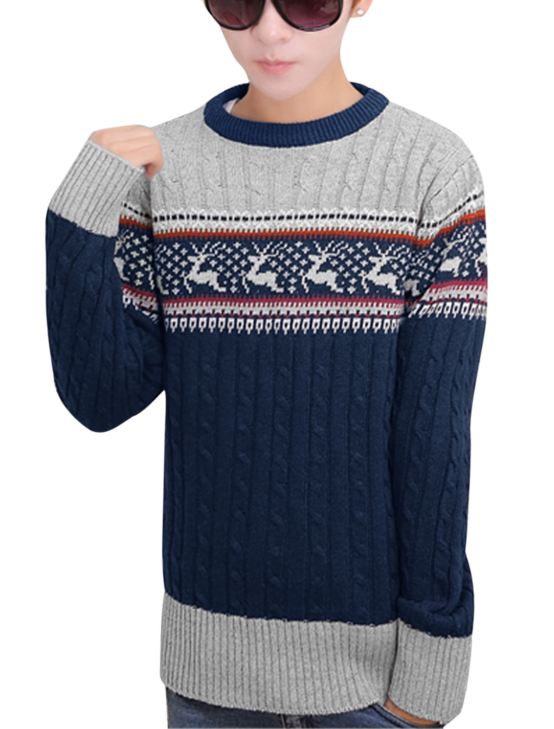 Ribbed Cuffs Deer Novelty Print Leisure Sweater for Men Navy Blue S