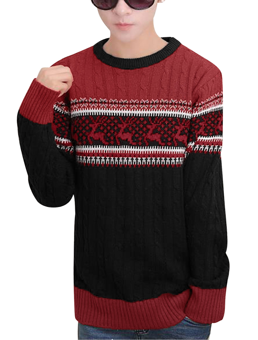Men Cable Rib Knit Design Contrast Color Deer Print Leisure Sweater Black S