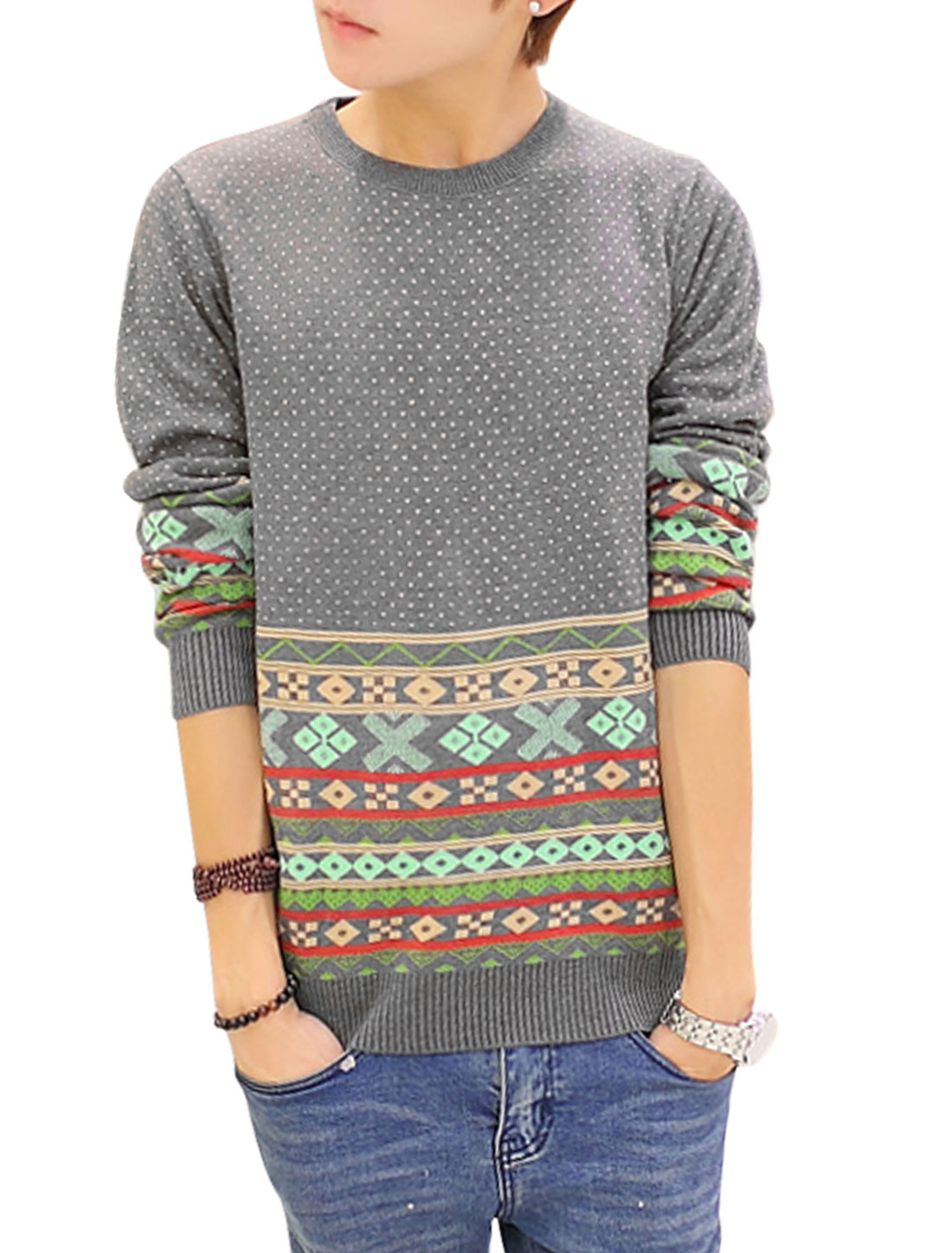 Men Crew Neck Argyle Pattern Dots Zigzag Pattern Sweater Light Gray S