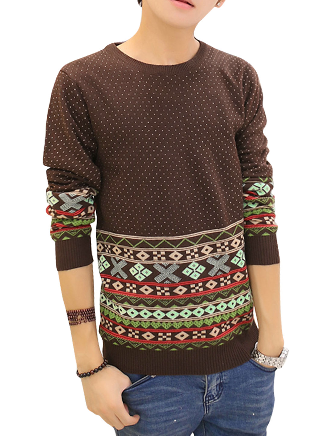 Men Ribbed Cuffs Argyle Pattern Dots Zigzag Pattern Sweater Coffee S