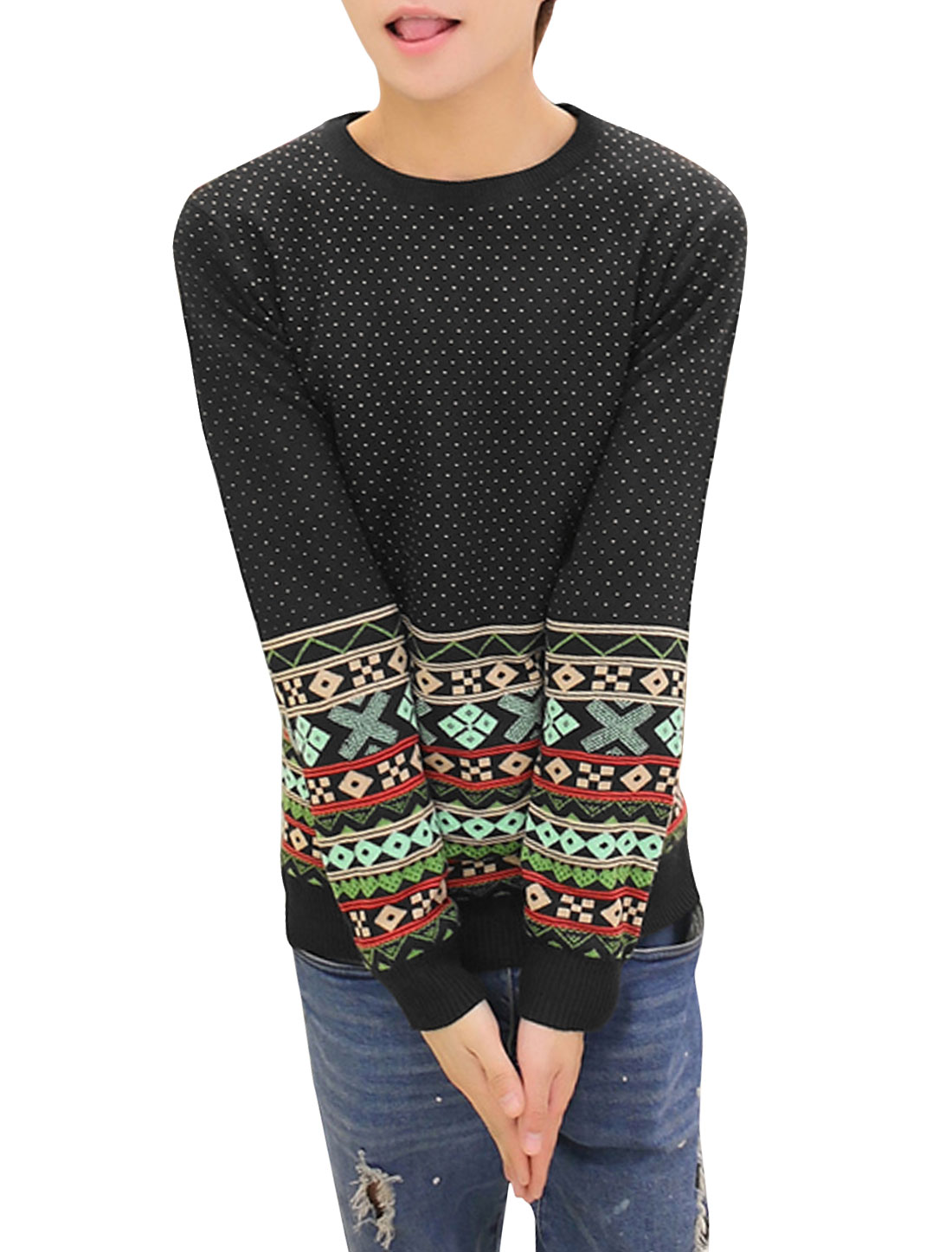 Men Ribbed Cuffs Geometric Novelty Dots Zigzag Pattern Sweater Black S