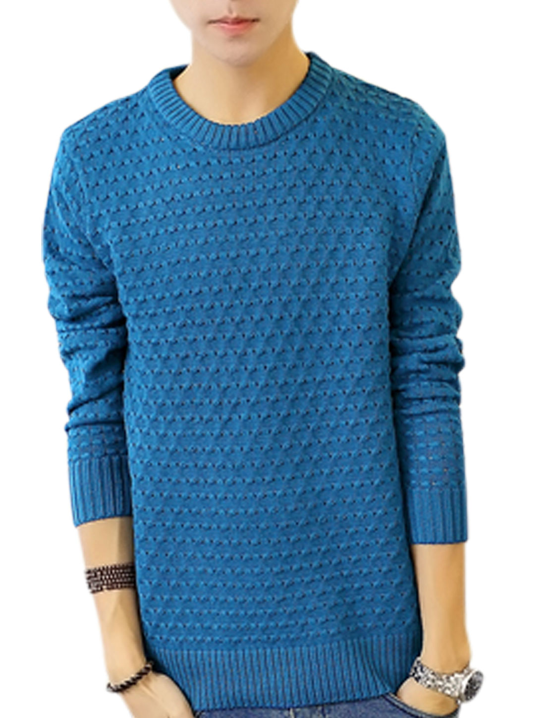 Men Crew Neck Braided Design Long Sleeves Sweater Blue S