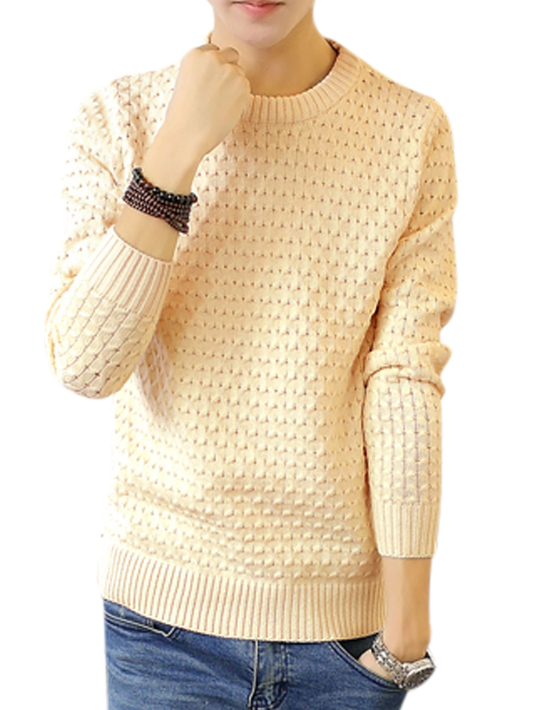 Man Braided Design Long Sleeves Pullover Beige Sweater S