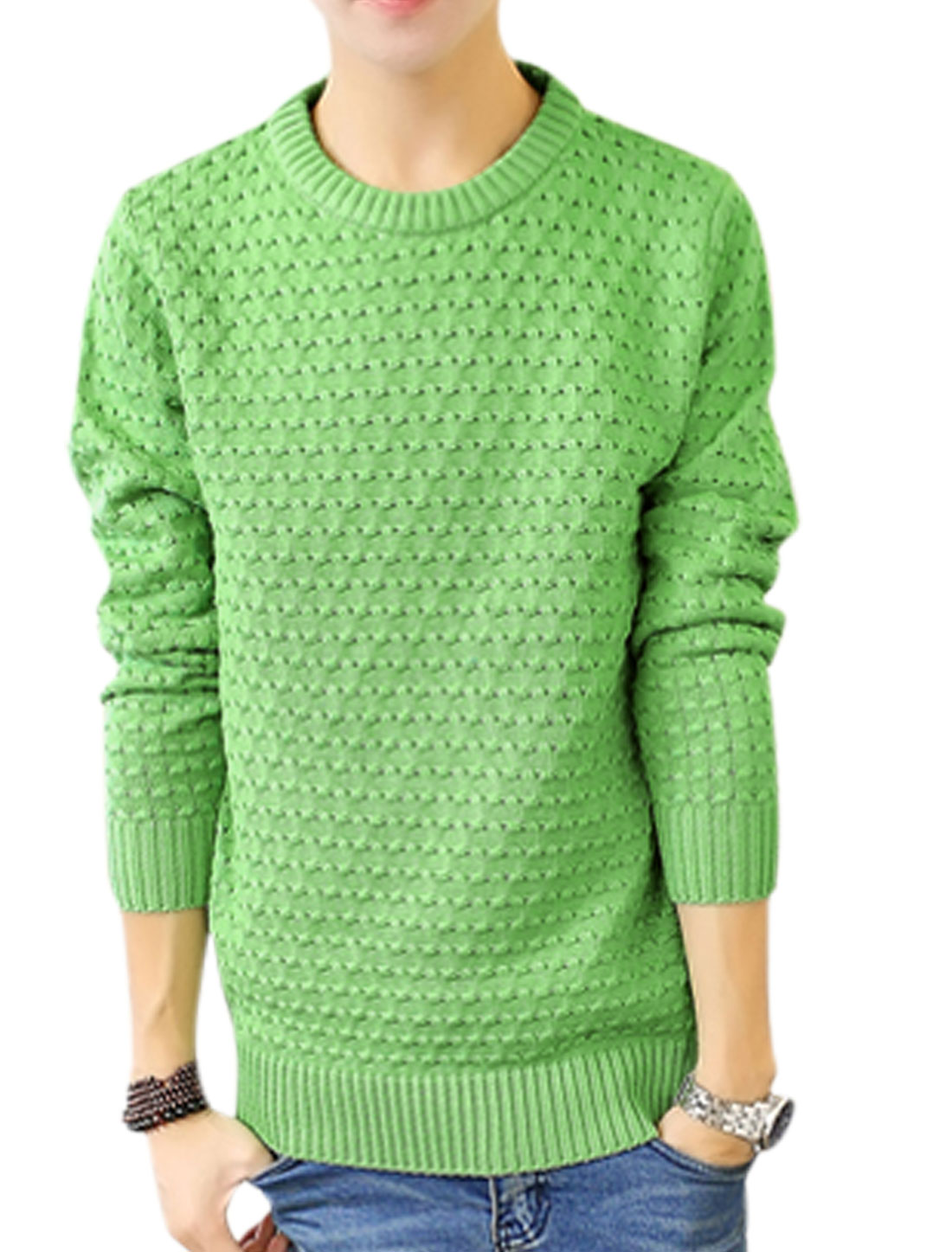 Slipover Crew Neck Long Sleeves Green Sweater for Man S