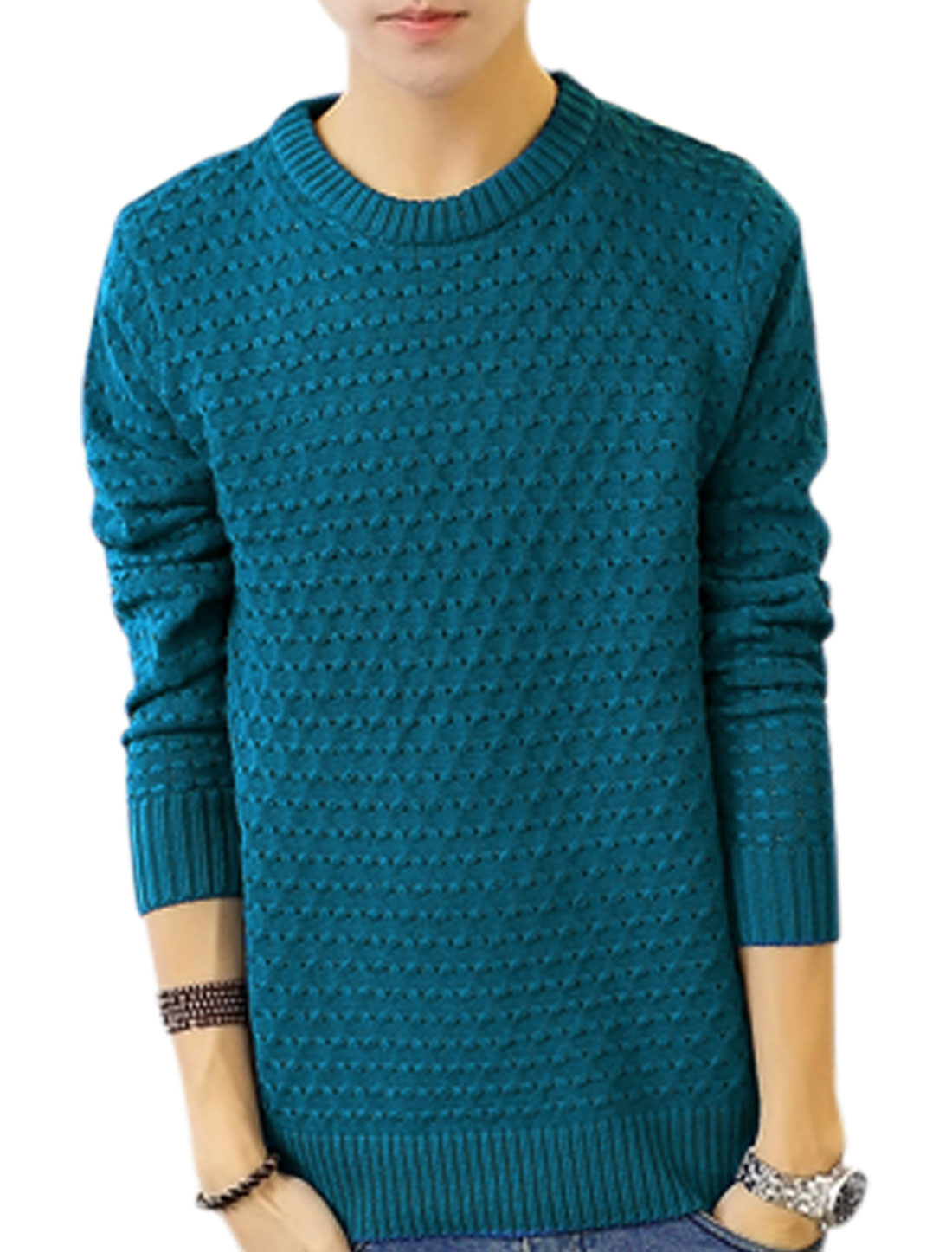 Stylish Braided Desing Slim Fit Turquoise Sweater for Men S