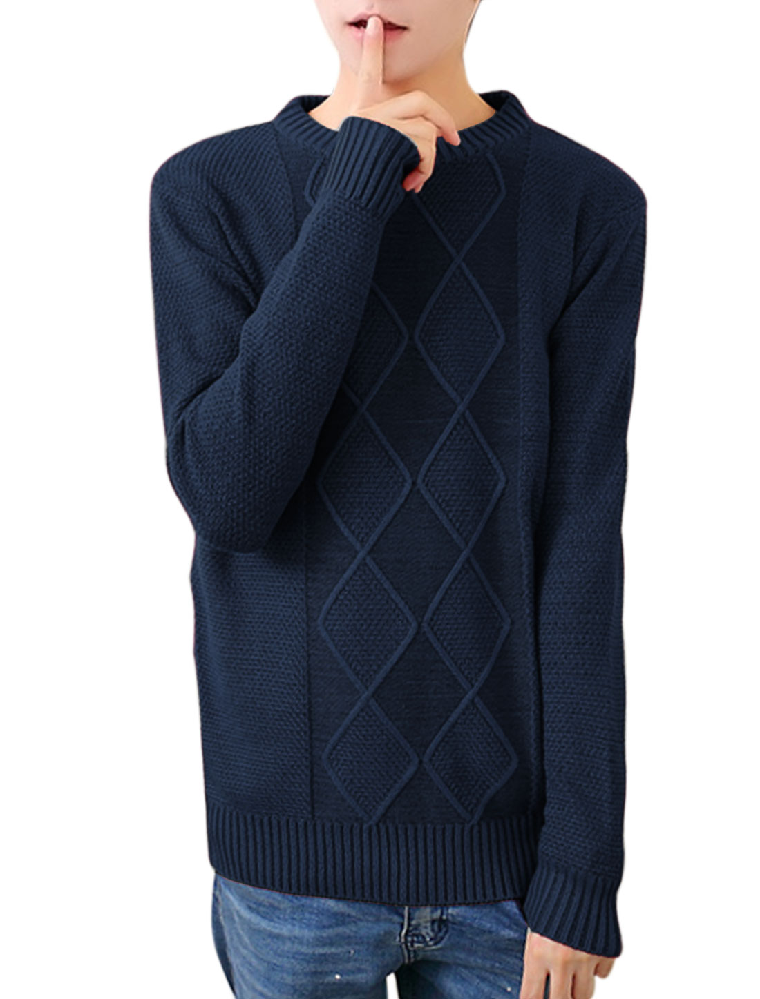 Men Crew Neck Long Sleeves Argyle Design Casual Sweater Navy Blue S