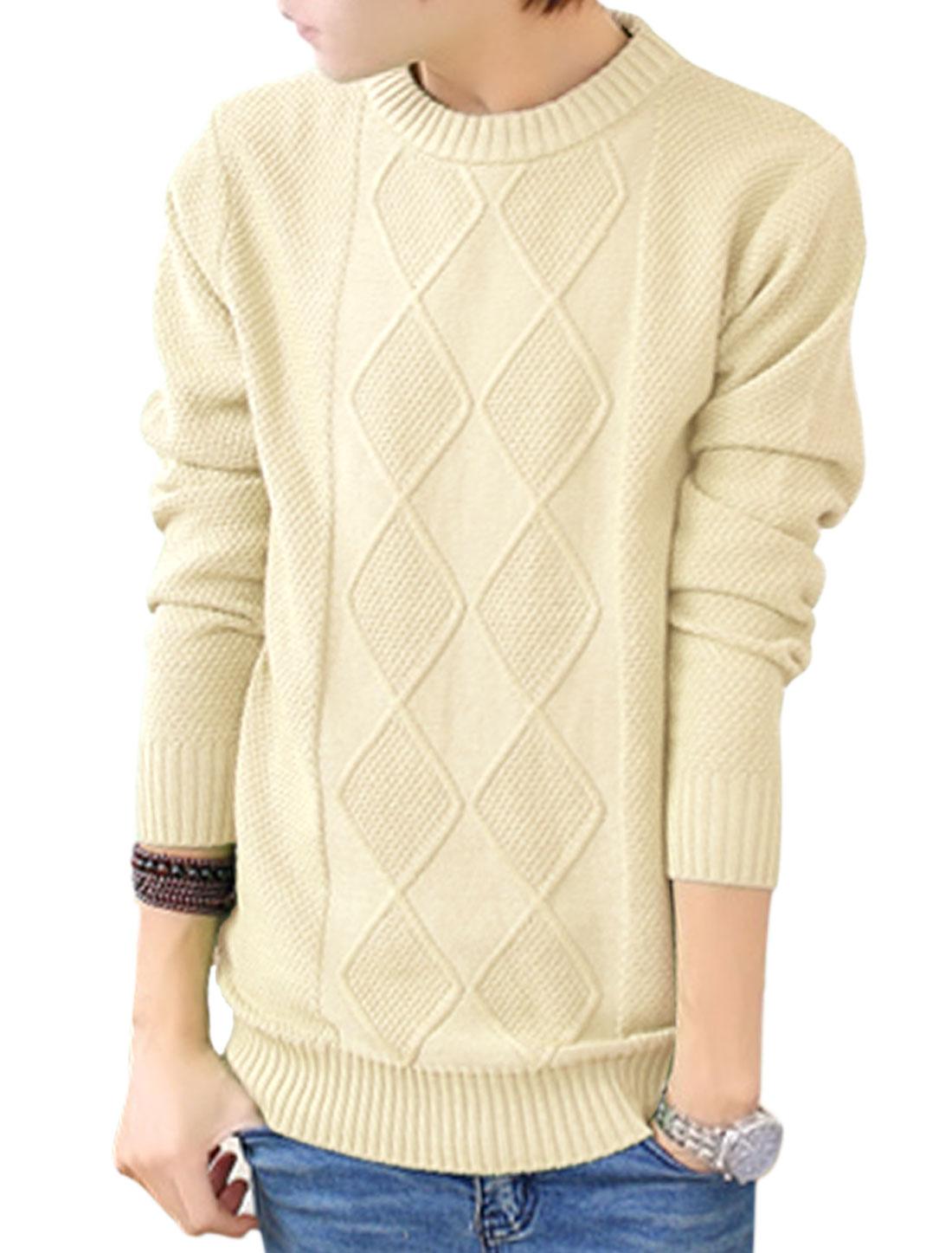 Men Pullover Long Sleeves Argle Design Beige Sweater S
