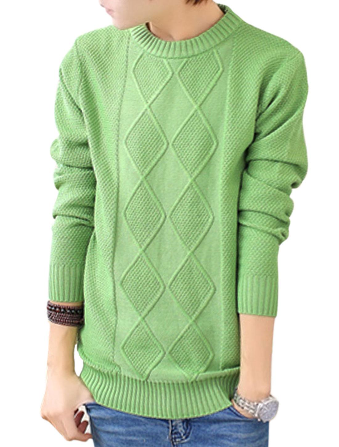 Long Sleeves Slipover Leisure Design Green Sweater for Man S