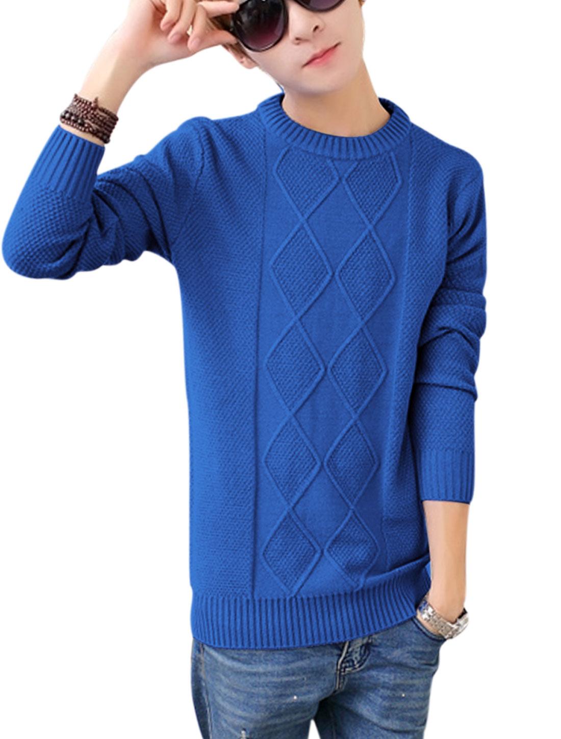 Crew Neck Slipover Fashion Design Royal BlueSweater for Man S