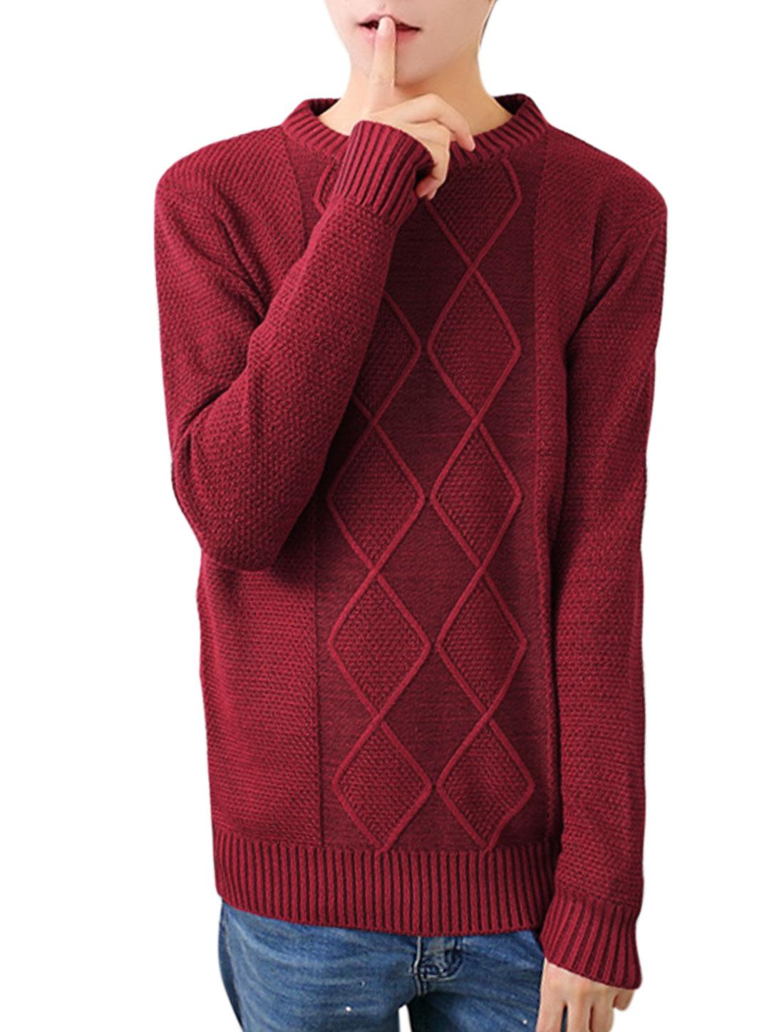 Men Argyle Design Crew Neck Slipover Burgundy Sweater S