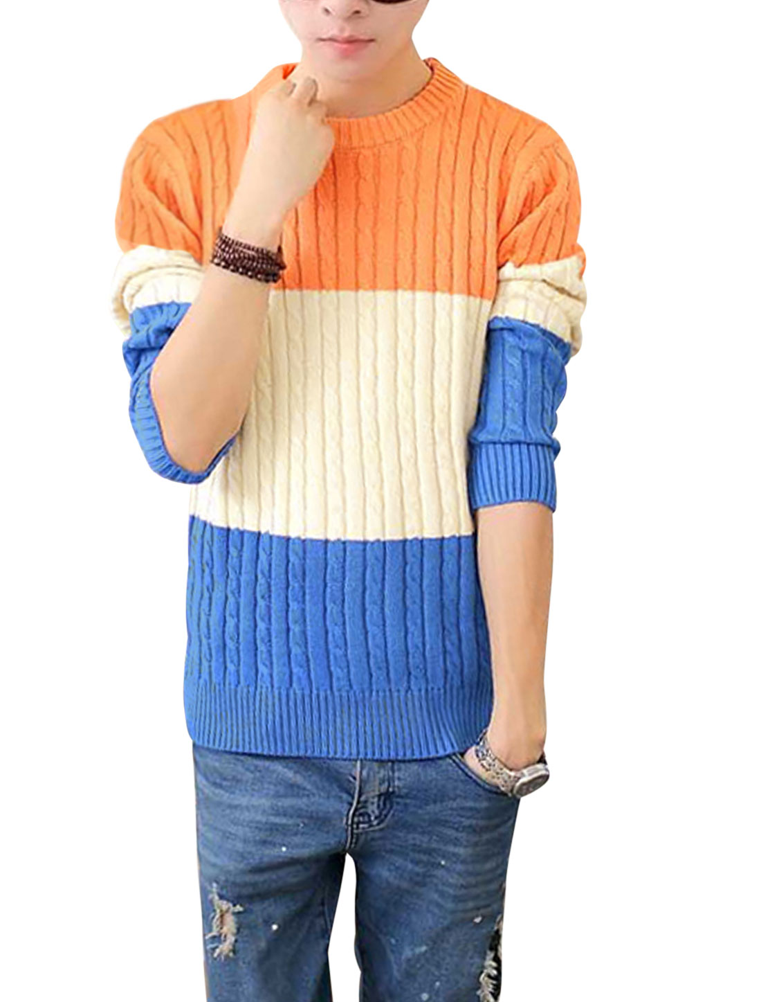 Men Cable Rib Knit Design Contrast Color Colorblock Casual Sweater Orange Blue S