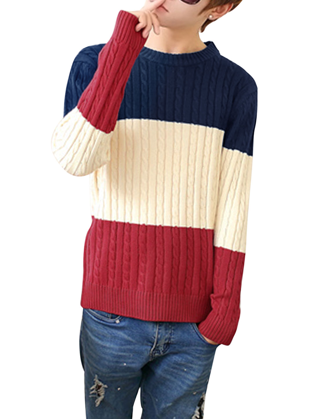Men Cable Rib Knit Design Colorblock Long Sleeves Sweater Navy Blue Burgundy S