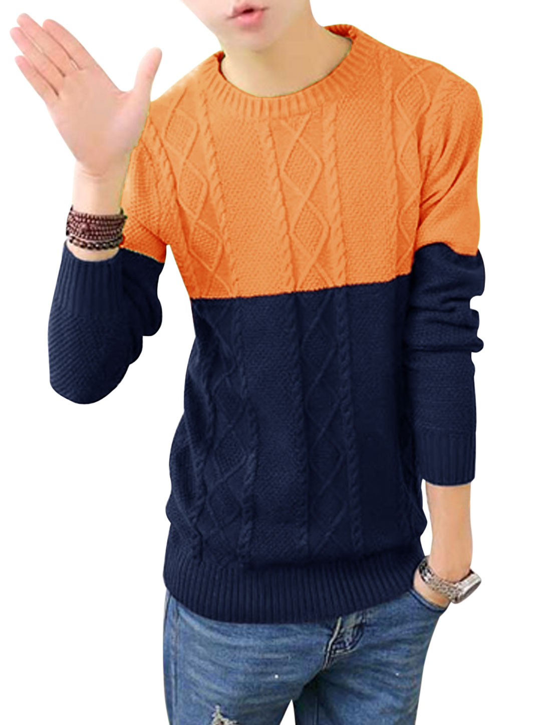 Men Argyle Design Cable Rib Knit Design Contrast Color Sweater Orange Navy Blue S