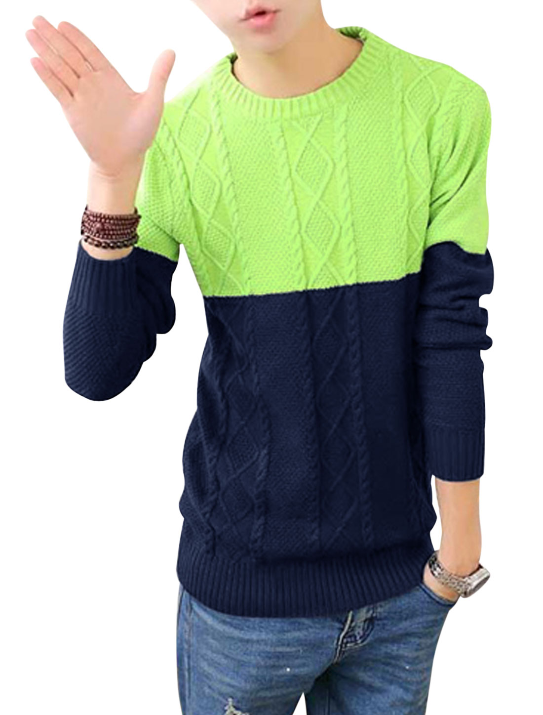 Men Argyle Design Cable Rib Knit Design Colorblock Sweater Green Navy Blue S