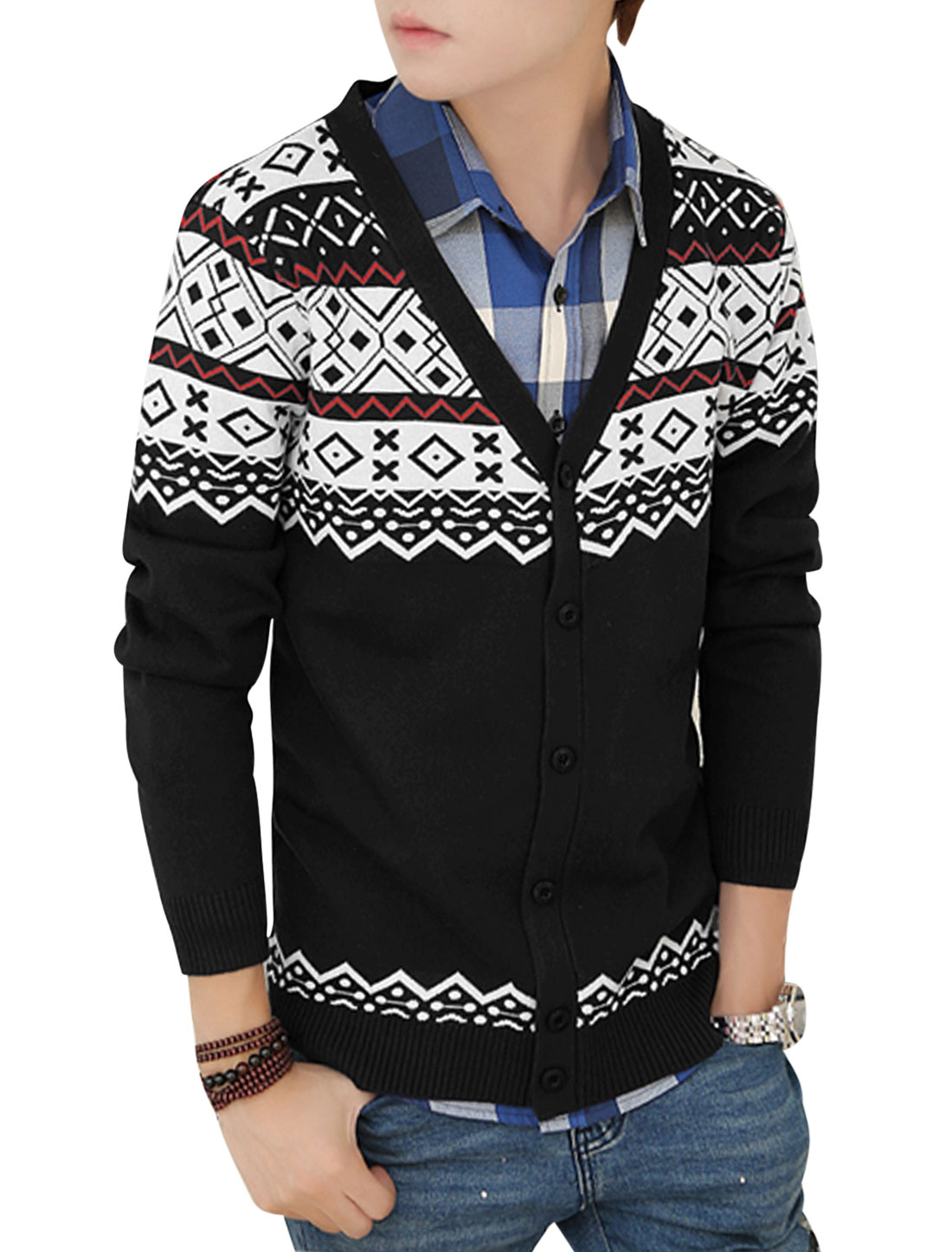 Men Cozy Fit V Neck Long Sleeves Zigzag Argyle Pattern Cardigan Black S