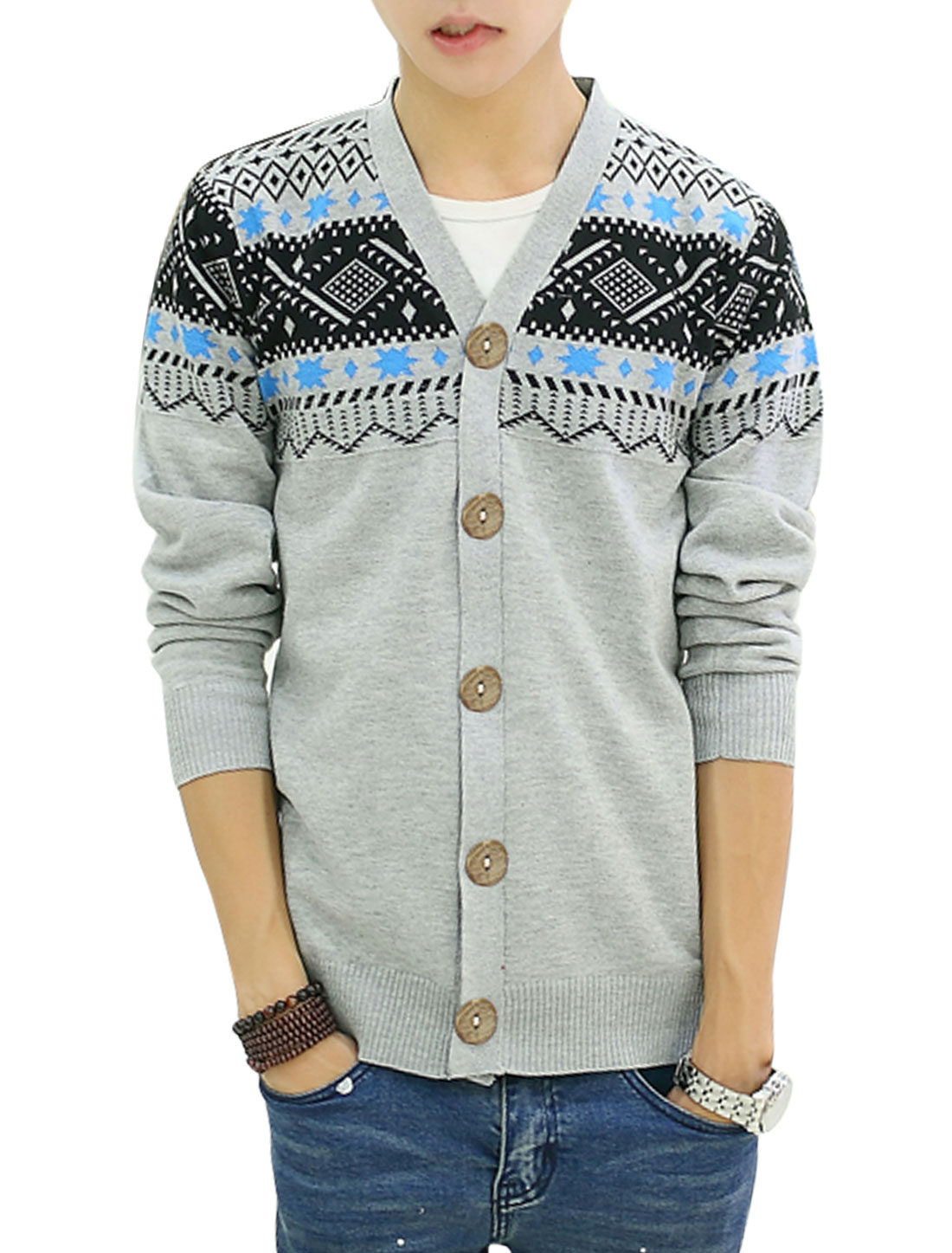 Men Single Breasted Geometric Novelty Print Casual Cardigan Light Gray S