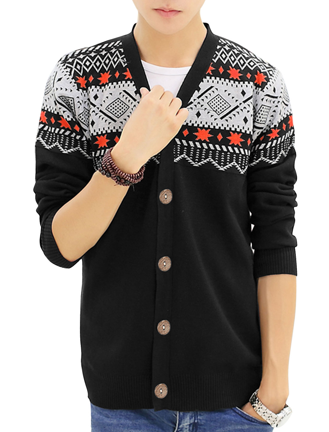 Men Ribbed Cuffs w Hem Geometric Novelty Print Casual Cardigan Black S