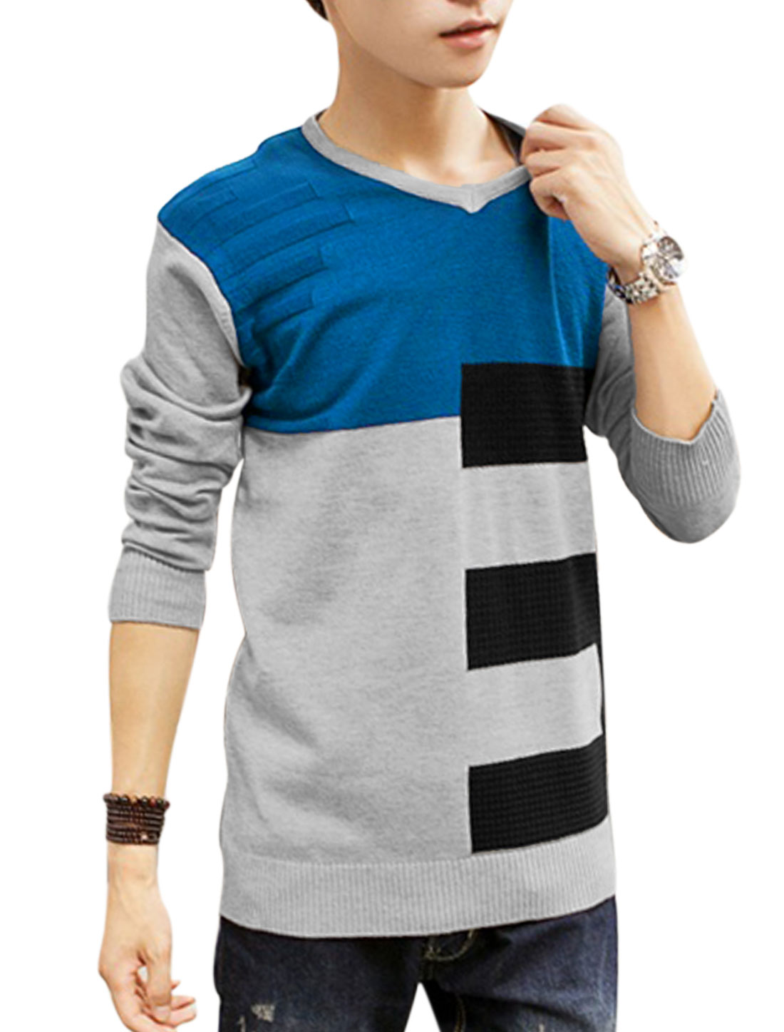 Men V Neck Contrast Color Number Pattern Casual Sweater Light Gray S