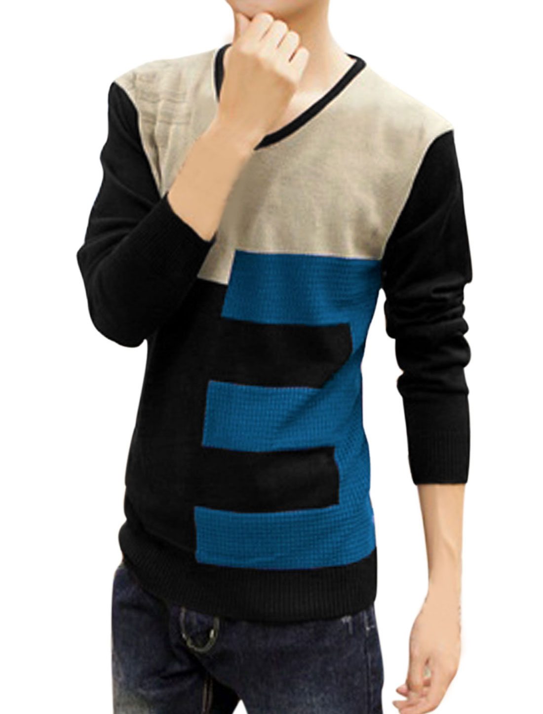 Men Ribbed Trim Color Block Number Pattern Casual Sweater Black S