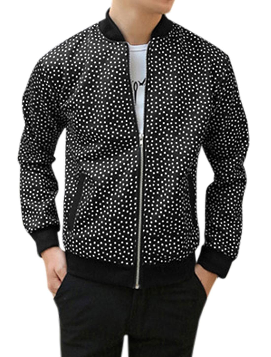 Men Zip Closure Polka Dots Prints Long Sleeve Casual Basic Jacket Black M