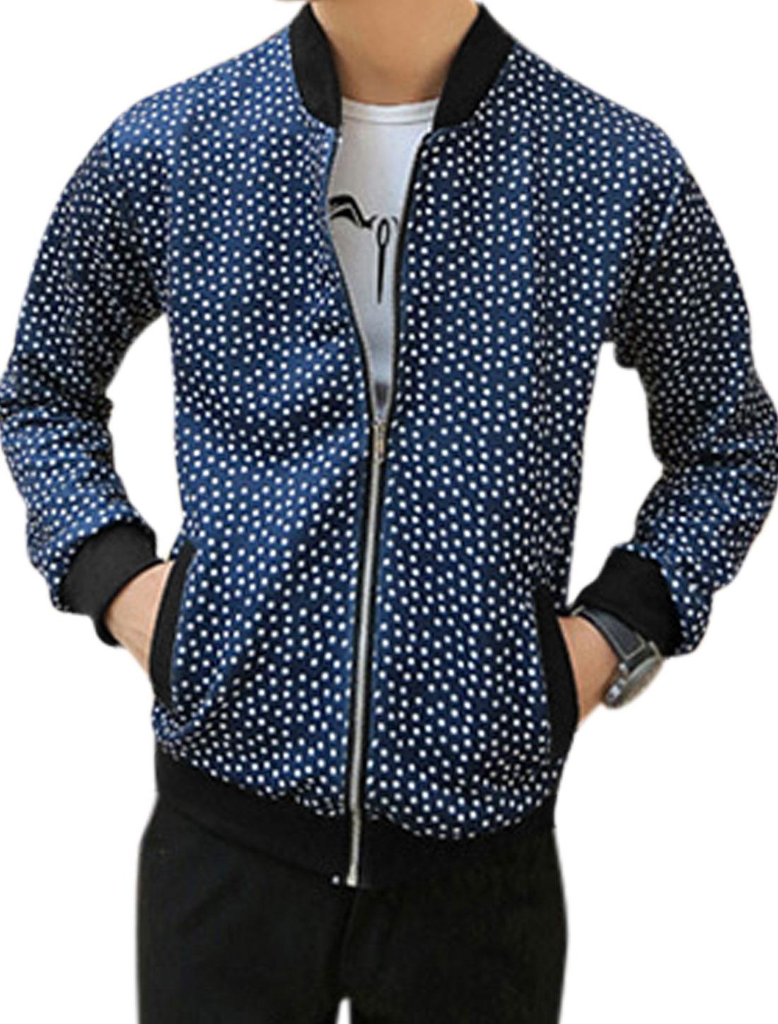 Men Ribbed Trim Dots Zip Closure Fashion Basic Jacket Navy Blue M