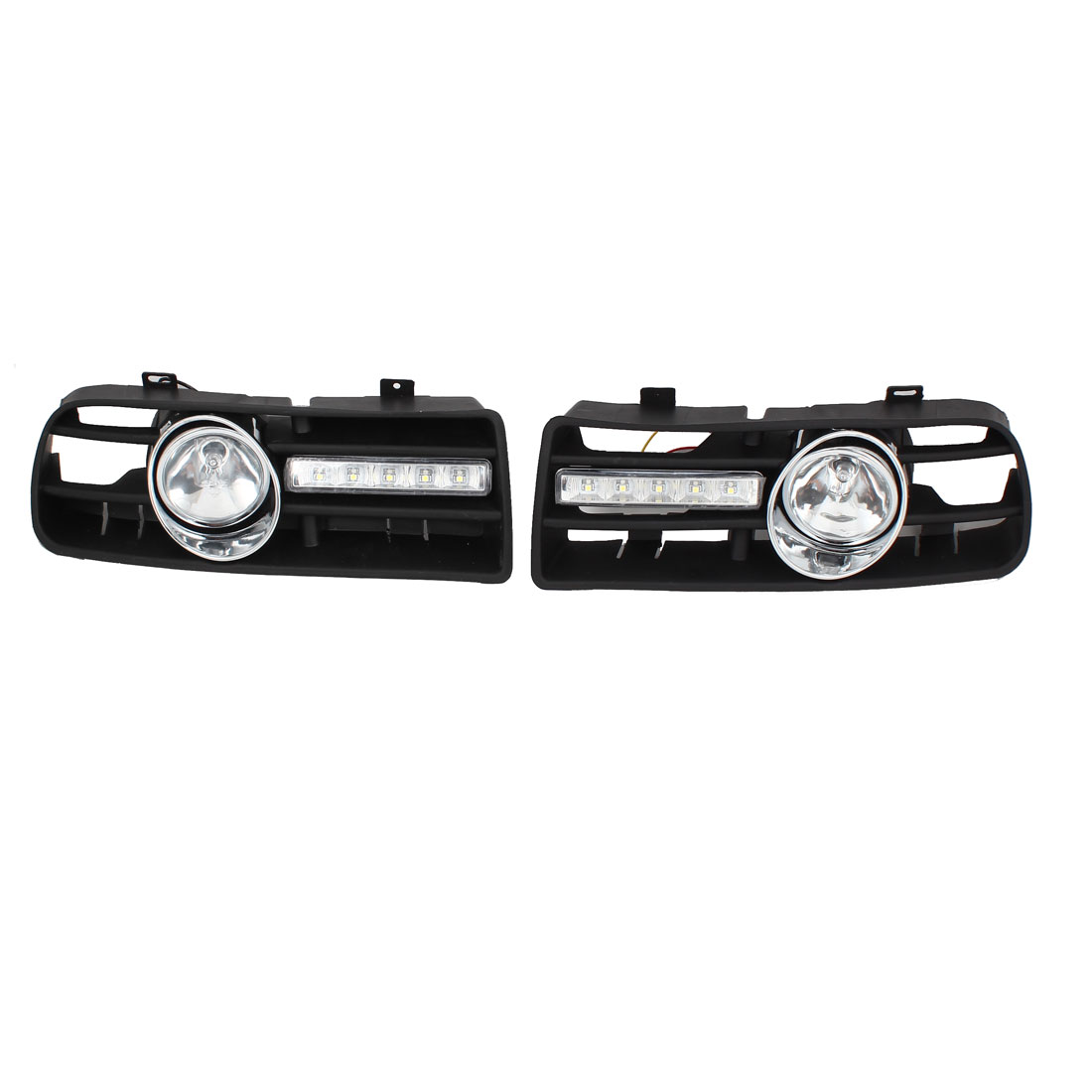 Pair Front Fog Light Lamp White LED Lower Grille DRL Bright for 1999-2004 Golf