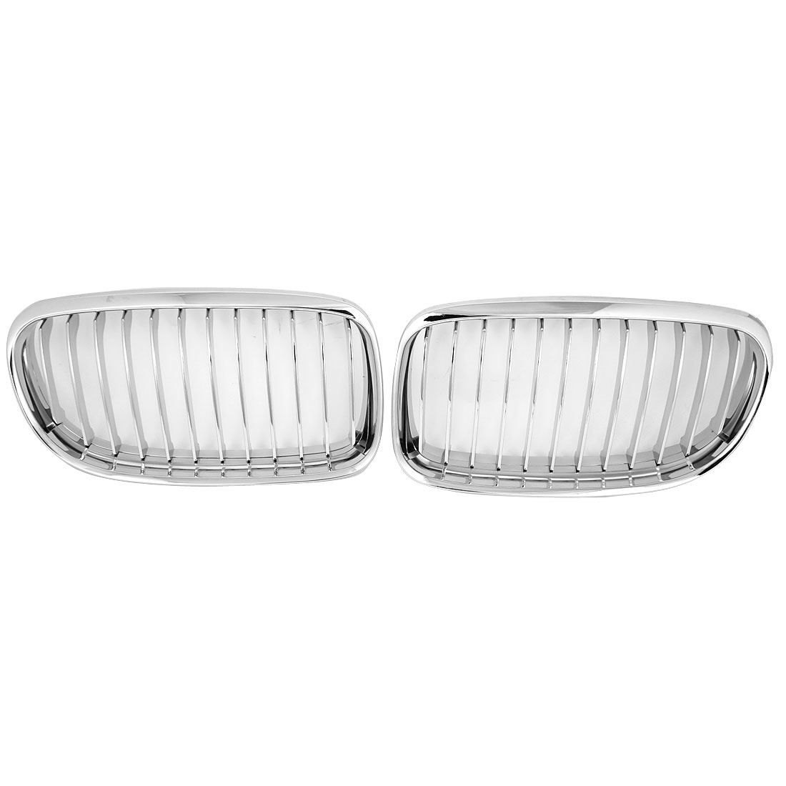 Pair Silver Tone Glossy Kidney Chrome Plated Front Car Grille Grill for BMW 525i/528i/530i/540i/M5