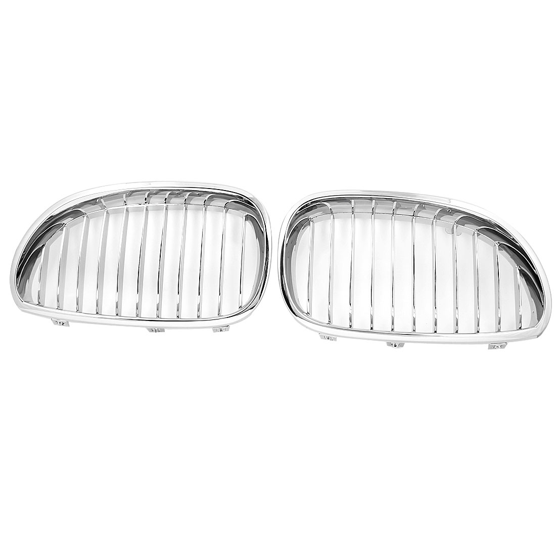 Pair Silver Tone Gloss Front Kidney Grill Grille for 2004-2010 BMW 5 Series E60 525i