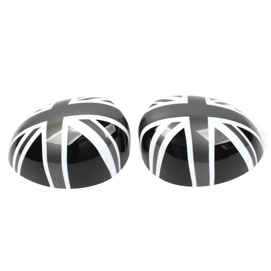Pair Black White Union Flag Side Rear View Mirror Caps Trim Cover for BMW MINI