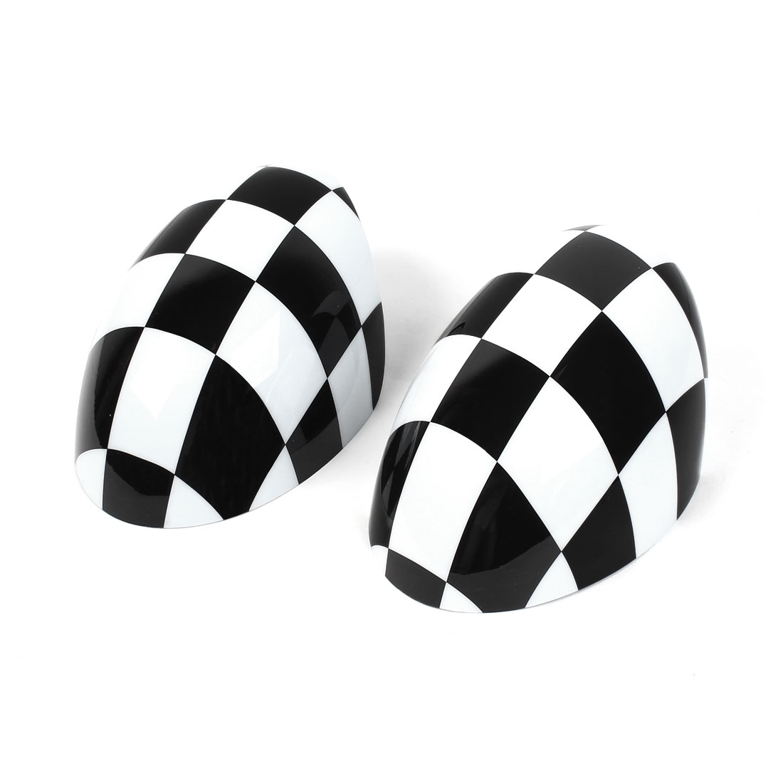 Pair Black White Checkered Side Rear View Mirror Caps Trim Cover for BMW MINI