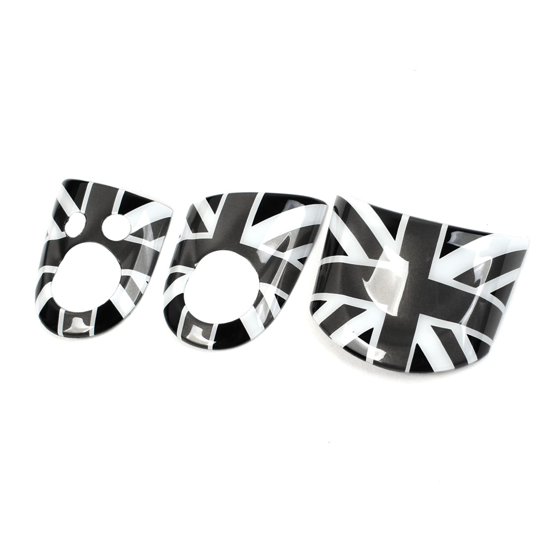 3 Pcs Black White Union Jack Flag Pattern Steering Wheel Cover Sticker for MINI COOPER