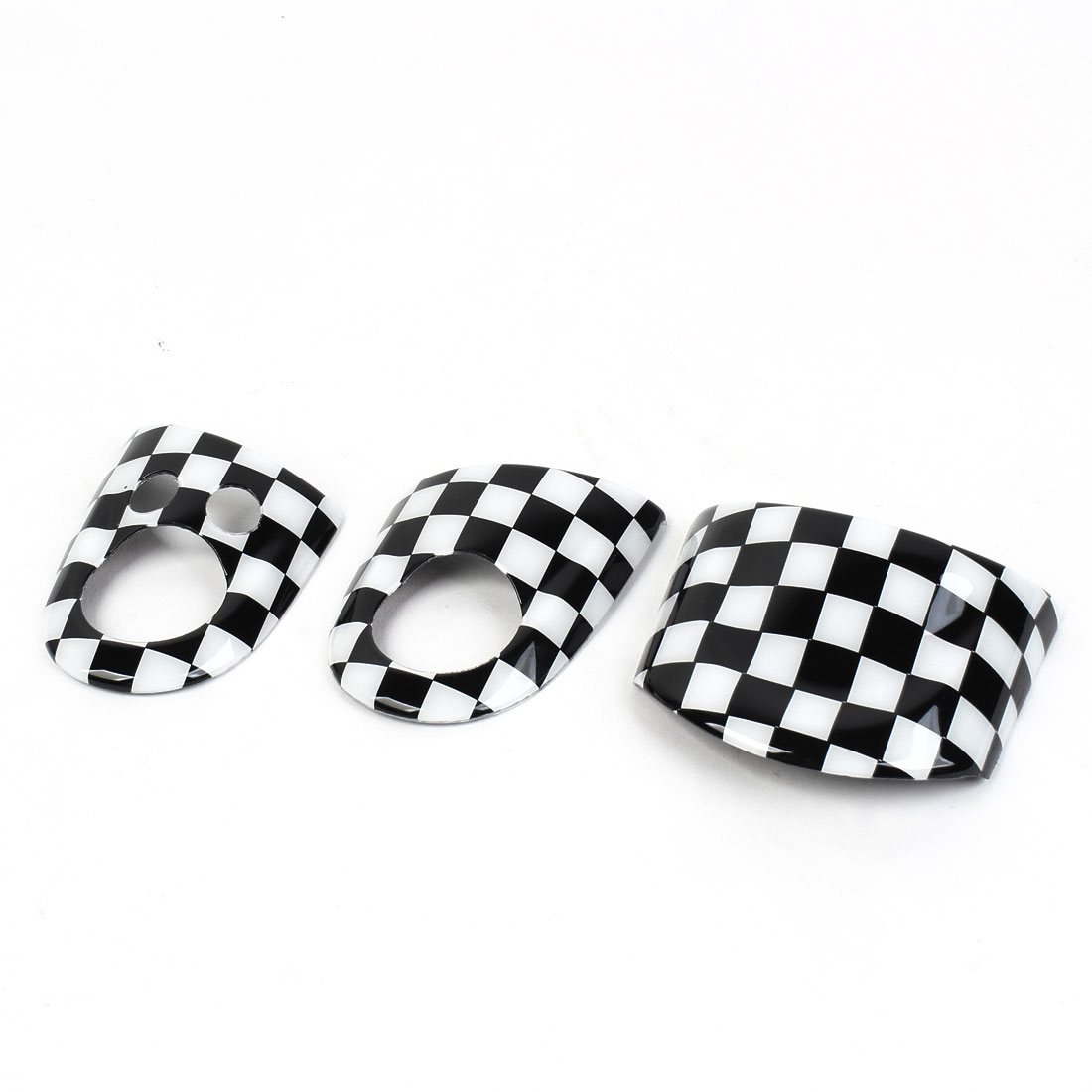 3 Pcs Black White Checks Pattern Steering Wheel Cover Sticker for MINI COOPER