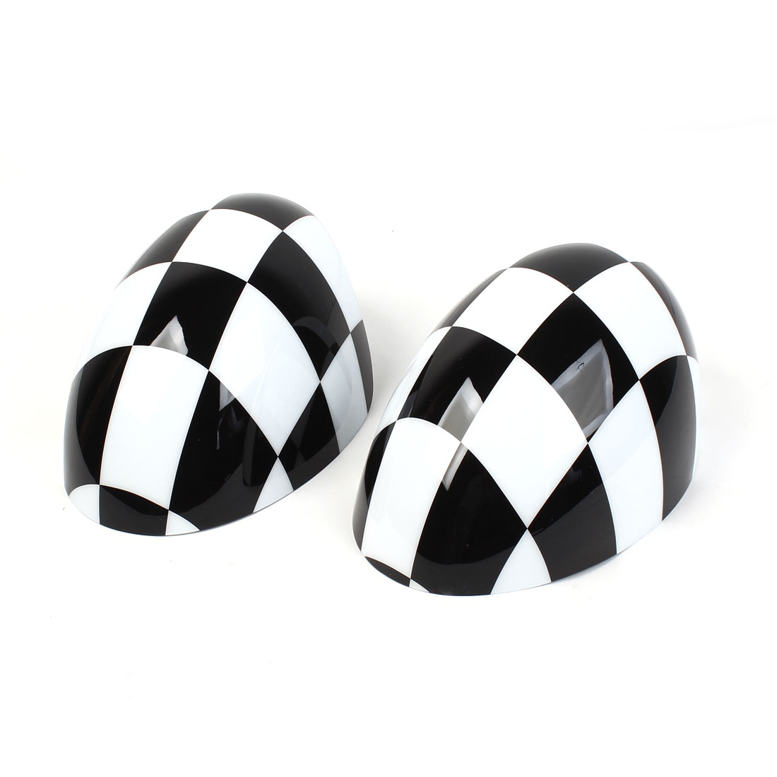 2 Pcs Black White Checkered Side Rear View Mirror Caps Cover Case for BMW MINI