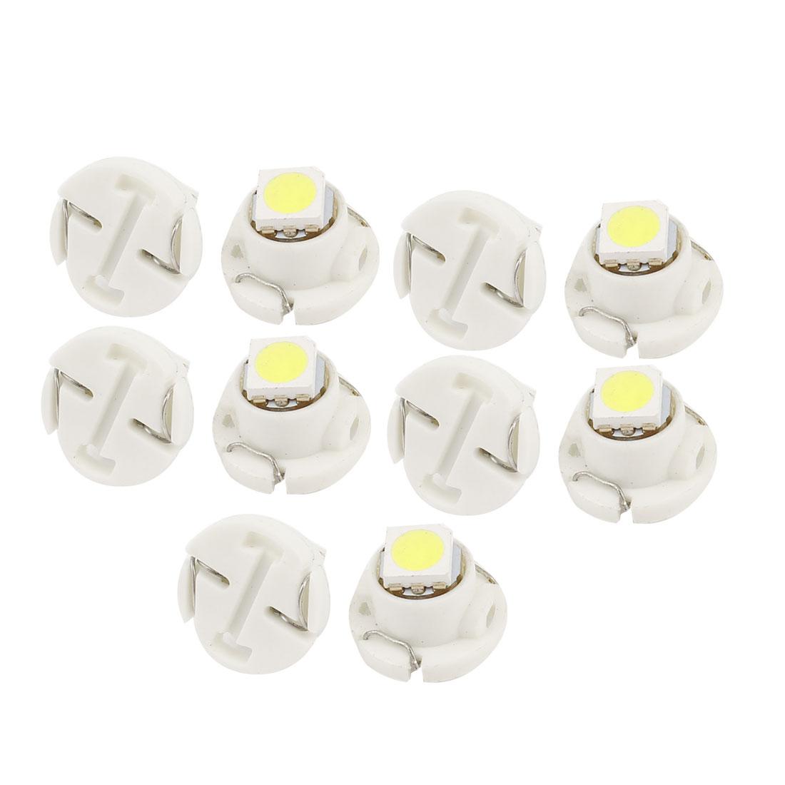 10 Pcs White T4.7 5050 1-SMD LED Light 12V Car Instrument Cluster Dash Lamp Internal