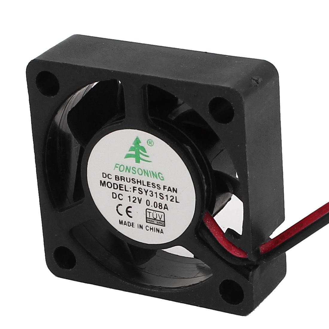 DC 12V 30mmx30mm Cooling Fan Black w Dustproof Mesh for PC Case CPU Cooler Radiator