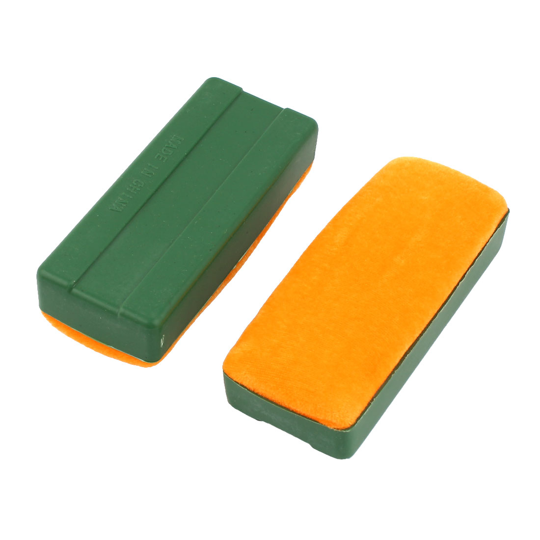 2 Pcs Green Plastic Housing Inside Orange Sponge Whiteboard Eraser 12cmx5cm