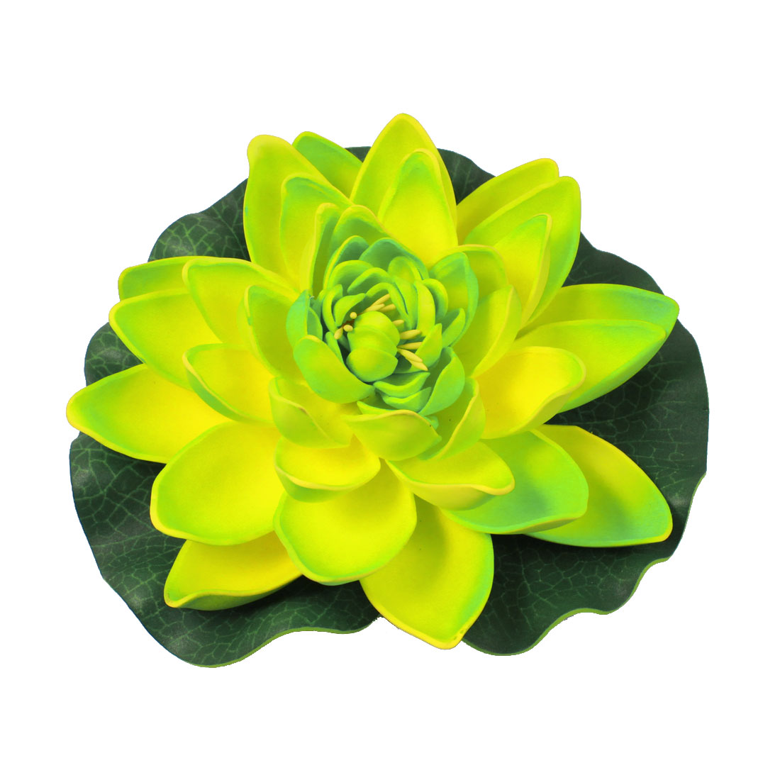 Yellow Green Artificial Floating Lotus Floral 17cm Dia for Fish Tank Aquarium