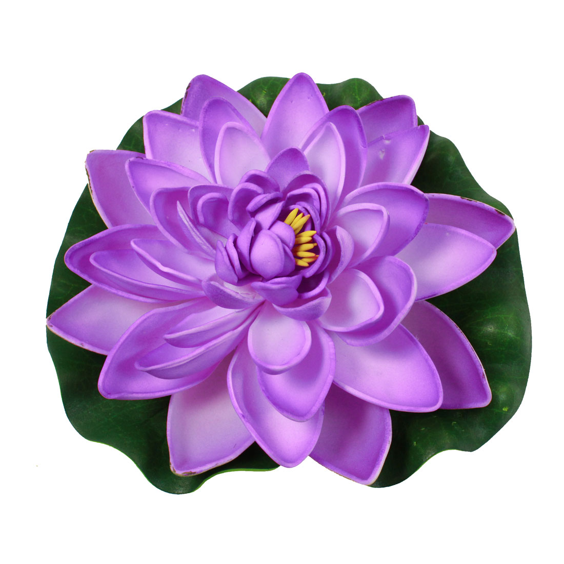 Purple Green Artificial Floating Lotus Floral 17cm Dia for Fish Tank Aquarium
