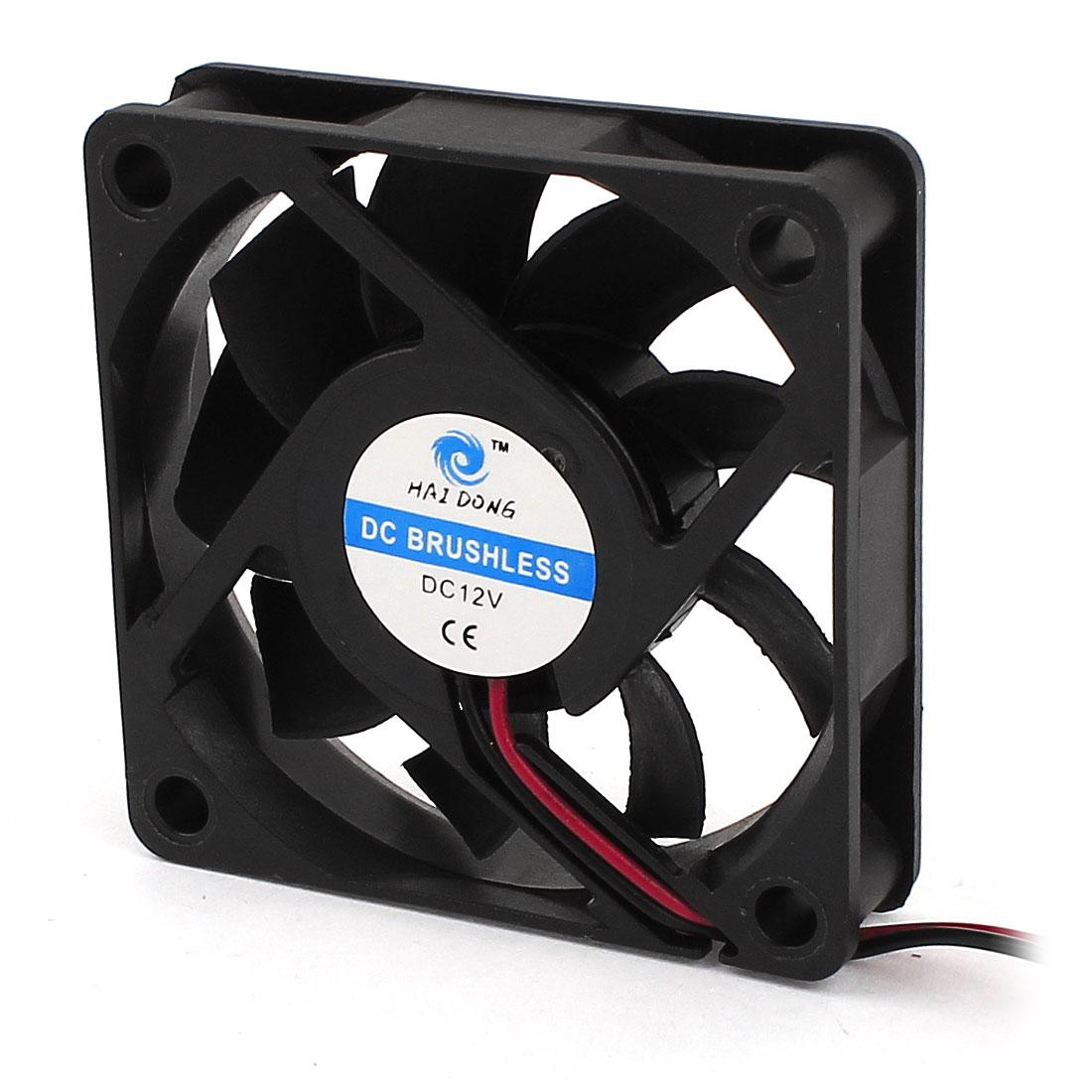 60mm x 60mm DC 12V Cooling Fan Black for Chipset CPU Cooler Radiator