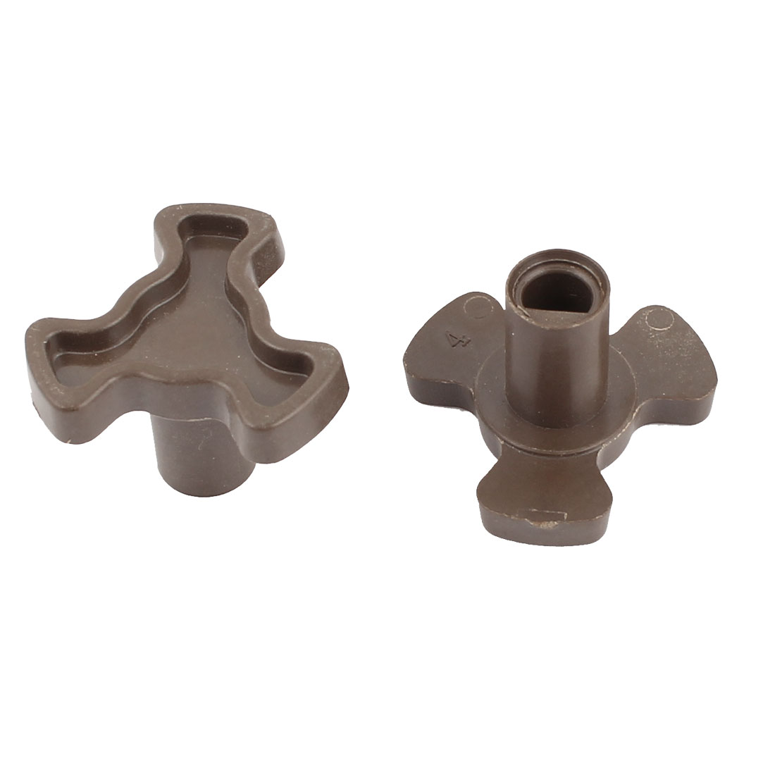 7mm Hole Dia Plastic Microwave Oven Turntable Coupler Coupling Control Knob Brown 2pcs
