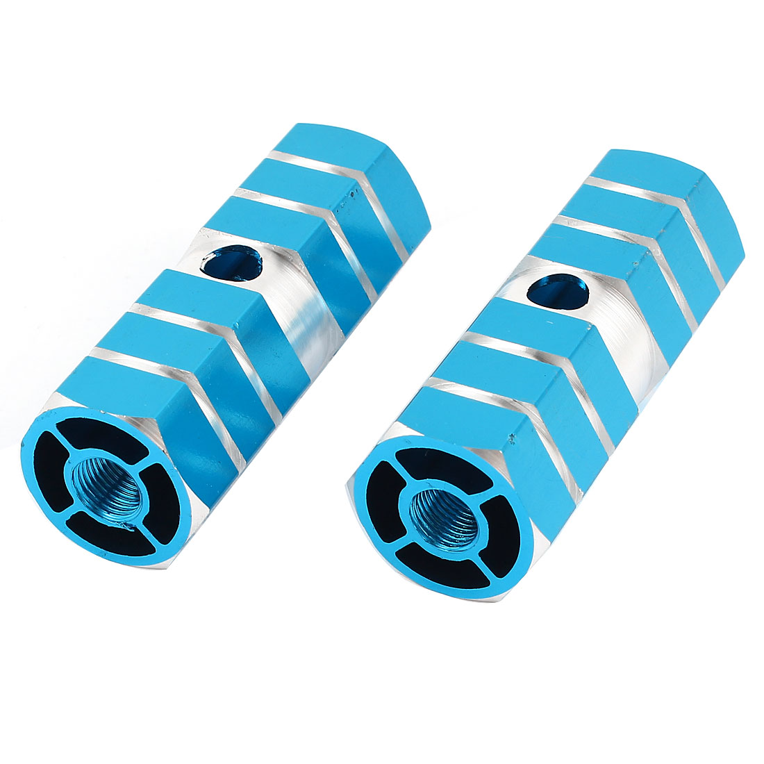2 Pcs 8.5mm Axle Hole Thread Dia Blue Hexagonal Aluminum BMX Mountain Bicycle Rear Axle Foot Pegs