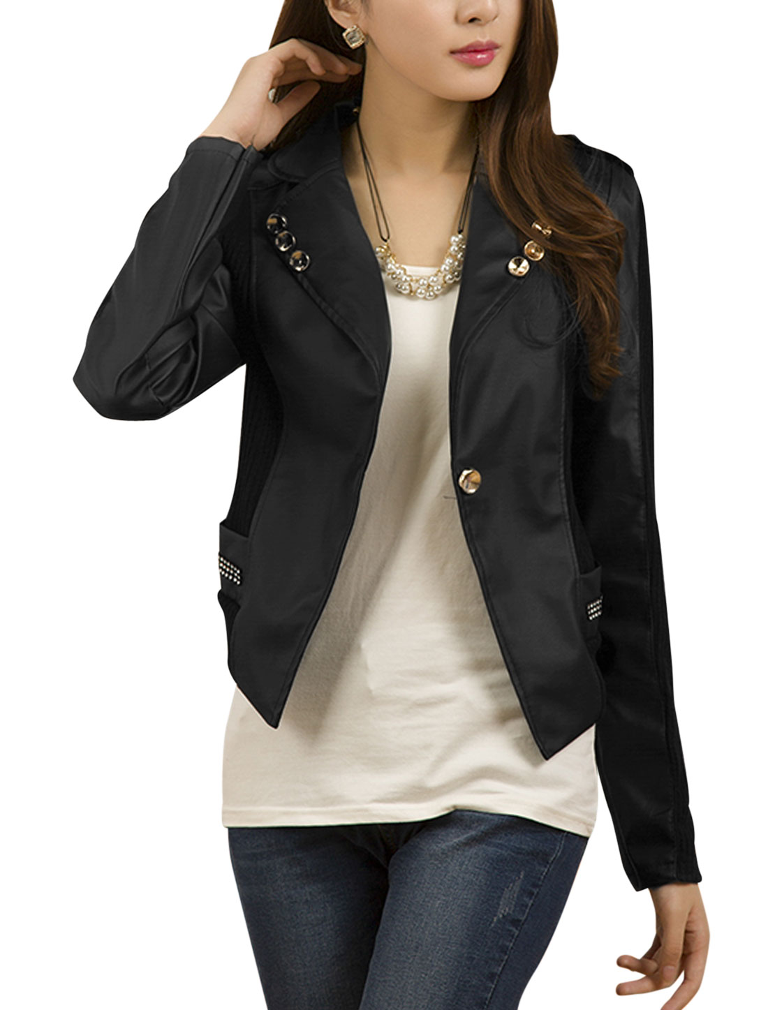 Ladies Black Notched Lapel Long Sleeves One Button Closure Splice Casual Jacket M