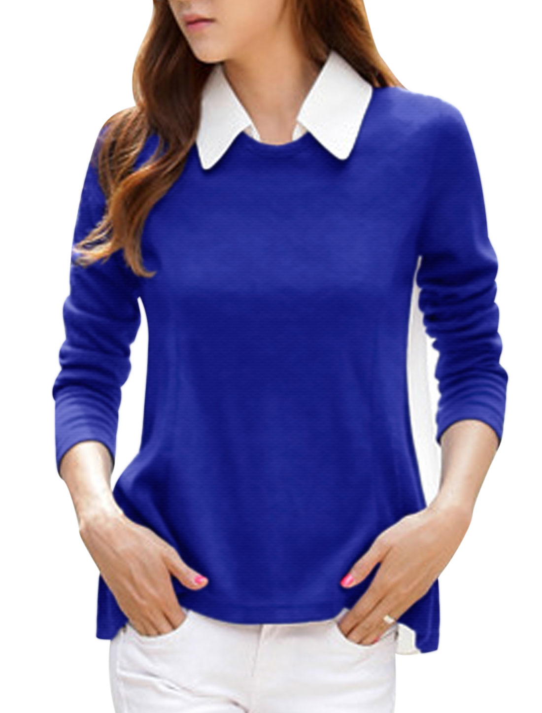 Ladies Royal Blue White Removable Turn Down Collar Long Sleeves Chiffon Splice Shirt XS