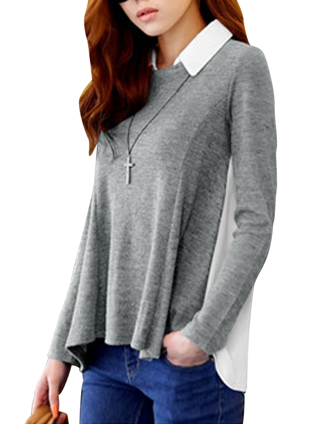 Ladies Light Gray White Removable Turn Down Collar Long Sleeves Chiffon Splice Shirt XS