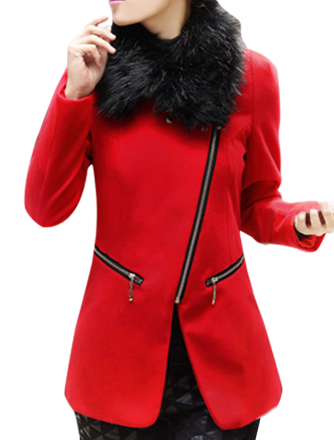 Women Zip Up Pockets Slim Fit Peacoat w Removable Collar Red M
