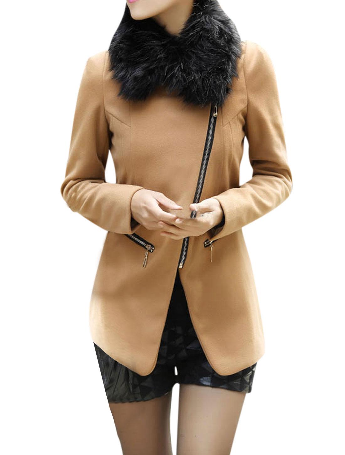 Women Zipper Closure Front Long Sleeve Leisure Peacoat Khaki M
